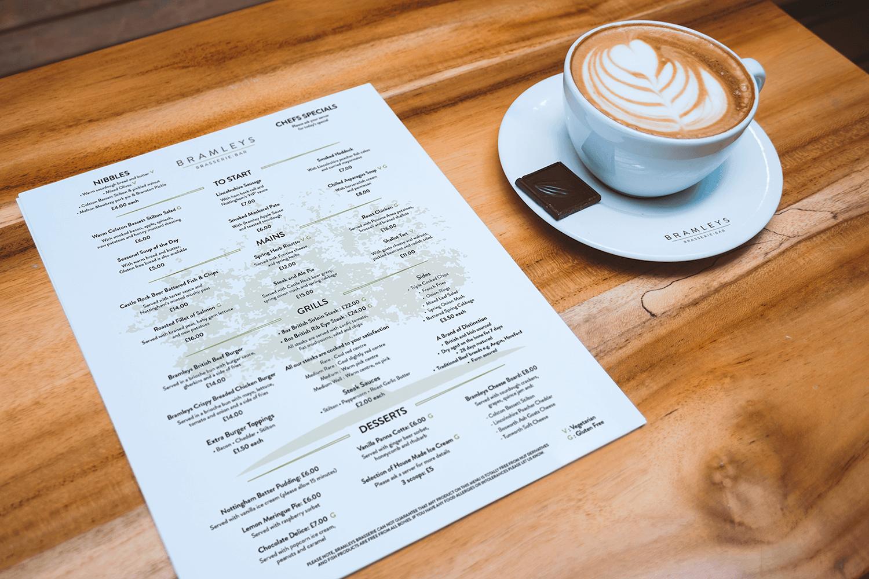 Bramleys A4 menu